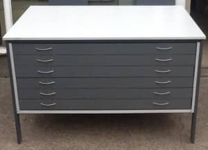 Grey Wooden Draw Plan Chest