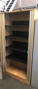 2m H x 1.1m W Oak Wooden Tambour Cupboard – USED – 4 shelves + KEY included