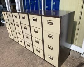 USED 4 Drawer Metal Filing Cabinets – Brown/Cream – With Keys – 8 AVAILABLE