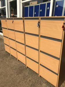 USED 4 DRAWER CONTRAPLAN BEECH FILING CABINETS – WITH KEYS – 7 AVAILABLE