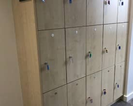 3 Door Wooden Lockers in Maple – W/Keys – 16 lockers available
