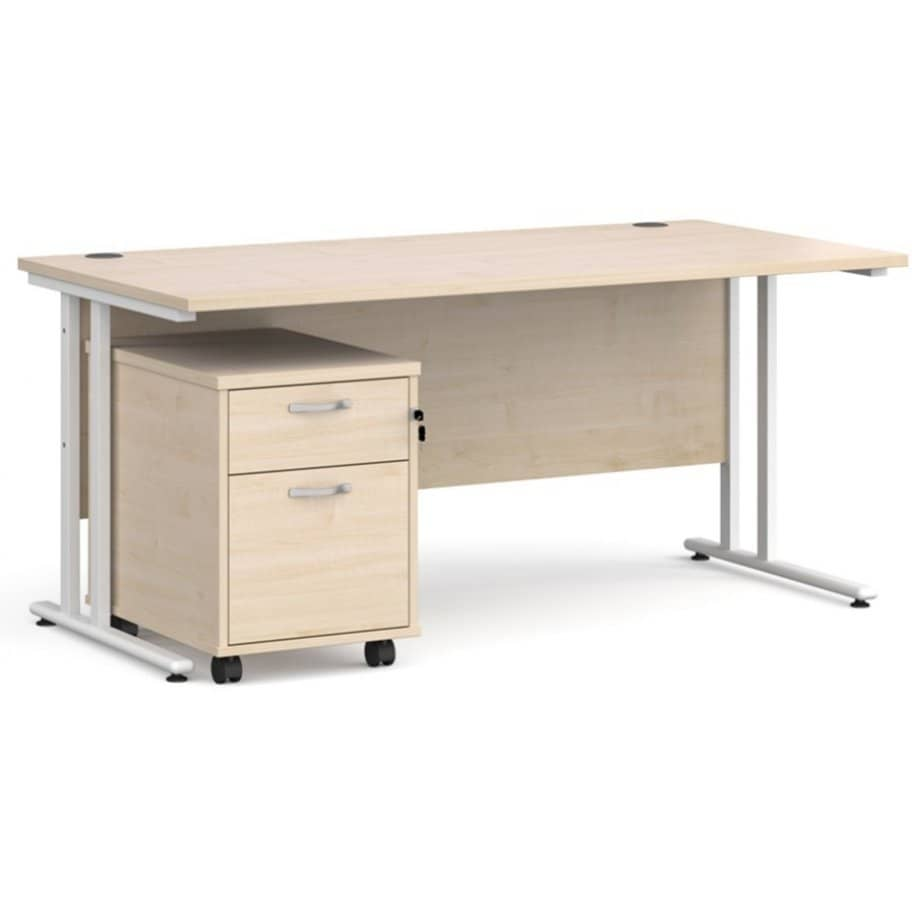 Maestro_Cantilever_Straight_Office_Desk_With_Two_Drawer_Mobile_Pedestal_Maple-912x912