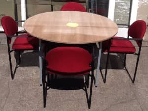 Light Walnut Round Meeting Table