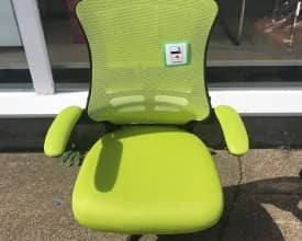 LUNA MESH OFFICE CHAIR – BRIGHT GREEN MESH – FOLD UP ARMS – NEW – EX DISPLAY