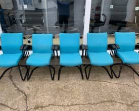 Set of 5 Turquoise Fabric Cantilever meeting chairs – £99 + VAT – REF 002