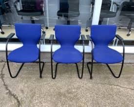 Set of 3 Blue Cantilever meeting chairs – £99 + VAT – REF 001