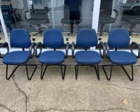 Set of 4 Blue Cantilever meeting chairs – £75 + VAT – REF 003