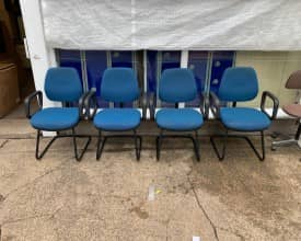 Set of 4 LIGHT Blue Cantilever meeting chairs –  £75 + VAT – REF 004
