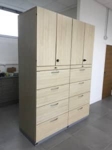 Set of 2 Storage Cupboards with shelving and suspension filing – Maple
