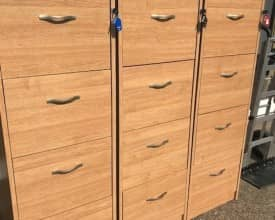 3 USED DAMS OAK 4 DRAW FILING CABINETS – WITH KEYS – V/G CONDITION