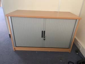 Desk High Tambour Units – BEECH – WITH KEYS – 5 AVAILABLE