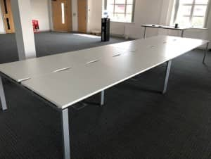 USED ADAPT II WHITE BENCH DESKING 1600 x 800 & 1200 x 800 available
