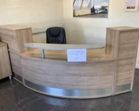 Modular Light Walnut Reception Unit – With 2x 3 draw pedestals