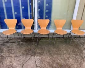 BEECH SQUARE BACK WOODEN STACKING CHAIRS WITH CHROME LEGS – £15 +VAT – QUANTITY AVAILABLE