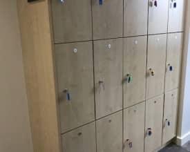 3 Door Wooden Lockers in Maple – W/Keys – 16 lockers available