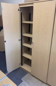 USED 2m High heavy duty solid Oak storage cupboards – 2 available – £150 + VAT