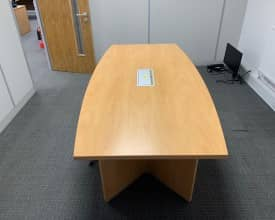 Used 2m x 1m Barrel Top Meeting Table in Light Wood with power module – £199 + VAT
