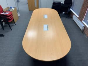 Used 2 piece Oval Beech Meeting Table 2800mm x 1200mm with 2x Power Module –